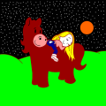 girl laying on a pony - Juliana, 11